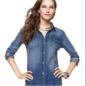 JUICY COUTURE Fitted Button Denim Western Shirt